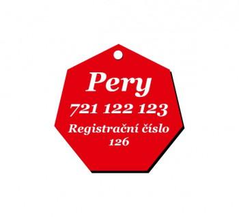 Psí známka PZ02 červená