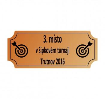 Poháry.com Štítek laserový 50 x 15 mm bronz