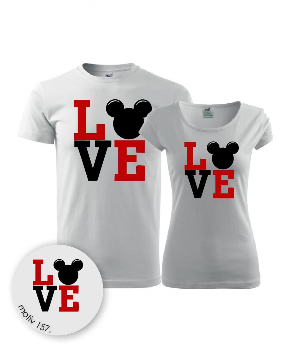 Trička pro páry Mickey Mouse 157 bílé  3575de2ba5