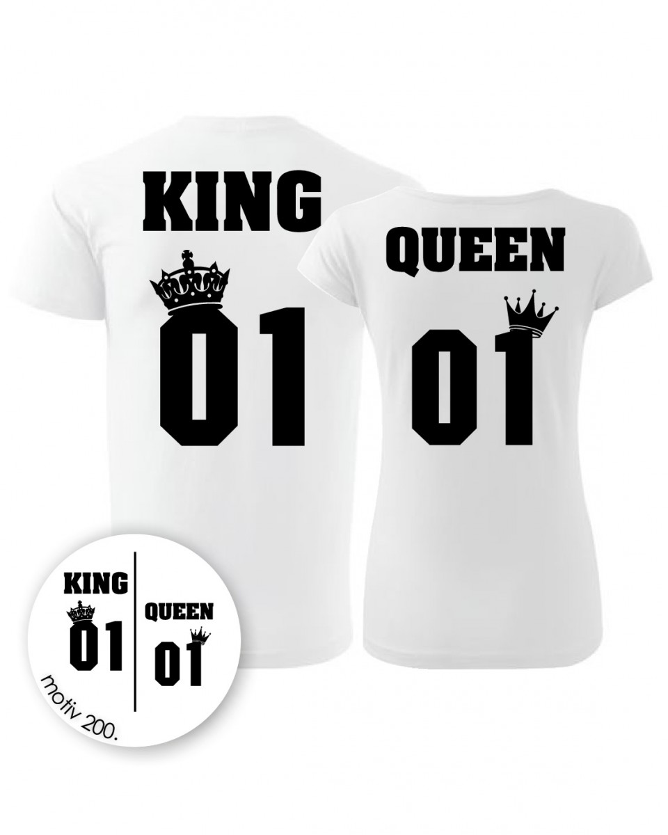 Trička pro páry King and Queen 200 bílé  6a621eb892